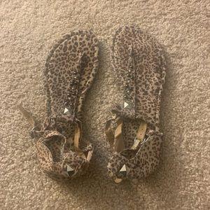 Never worn studded leopard print sandals